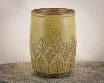 Hand Carved Pottery Utensil Holder - Multi-Purpose Hand Carved Ceramic Cylinder - Leaf Carved Stoneware Vase - Hand Carved Decorative Vase