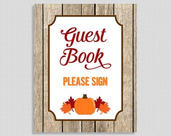 Please Sign The Guest Book Shower Table Sign, Pumpkin Baby Shower Sign, Leaves, Fall, Gender Neutral, INSTANT DOWNLOAD