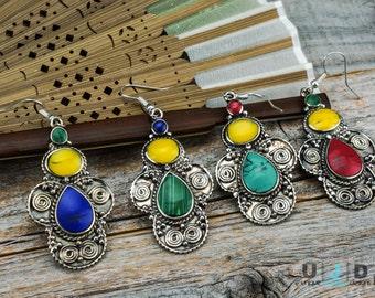 Earrings, Silver Earrings, Copal, Stone Earrings, German Silver Earrings,Bohemian Jewelry,Boho Chic, Tribal Jewelry,Dangle Earrings,Designer