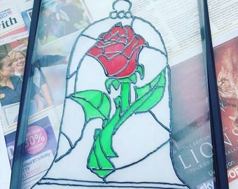 HANDMADE Rose stained glass style picture, beauty and the beast inspired