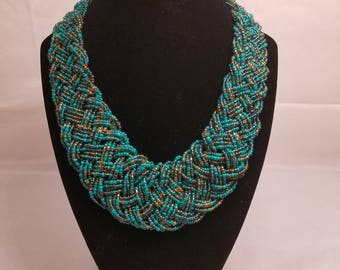 Woven beaded necklace