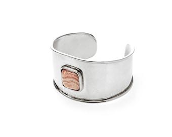 Rodochrosite stone and nickel silver cuff bracelet