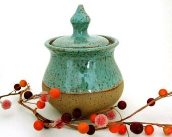 Hand Thrown Jar with Lid - Ceramic Jar - Stoneware Jar - Clay Jar - Bare Bottom - Wheel Thrown Pottery - Stoneware