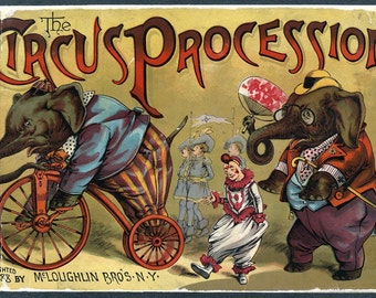 """Vintage Circus Poster """"Circus Procession"""" Victorian Circus Print - Antique Carnival Bright Cheerful Color Animals"""