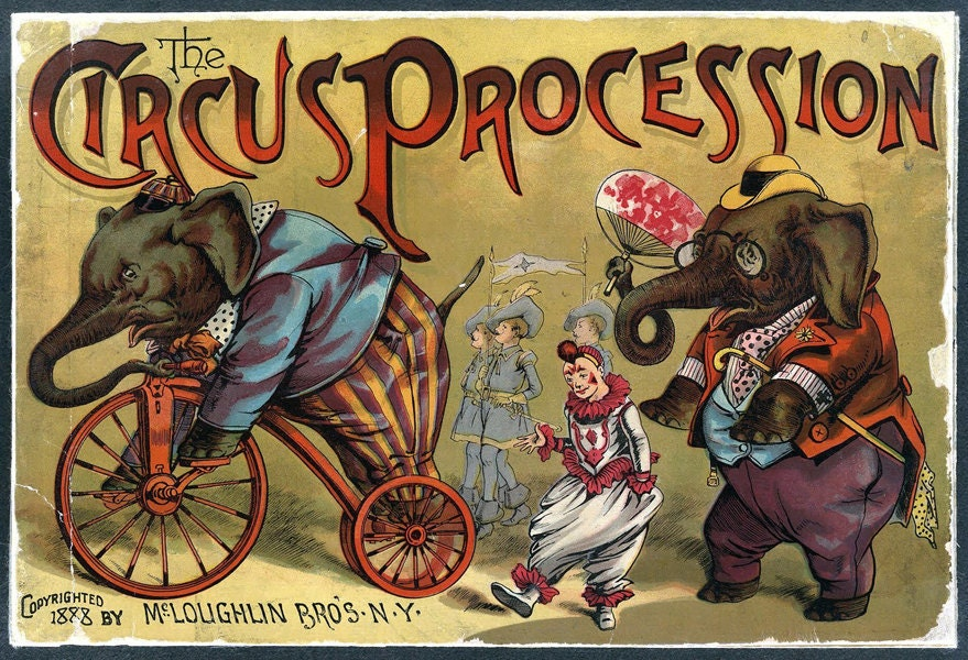 Vintage Circus Poster Procession Victorian