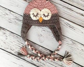 Baby Sleeping Owl Hat, Crochet Hat, Dusty Rose & Gray Owl Hat, Handmade Baby Hat, Crochet Sleepy Owl, Photography Prop, Baby Girl