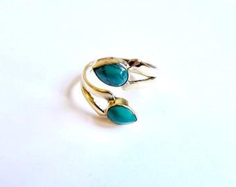 Adjustable Turquoise Amethyst Moonstone Gemstone Ring Brass, Handmade, Boho Rings, Tribal Jewellery Gift Boxed + Gift Bag , Free UK Delivery