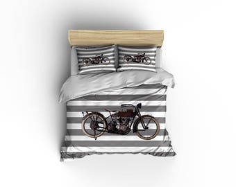 Vintage Motorcycle duvet covers,motorcycle decor,biker bedding,Vintage Biker Bedding,Classic Harley Davidson,Made in USA,motorcycle designs.
