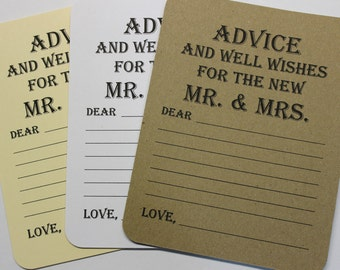 Set of 20 Advice Card - Wedding Wish - Wedding Advice Wedding Wishes - Bridal Shower -  Bride and Groom Mr. & Mrs. Wish Card Wish Tag