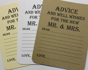 Lot de 20 conseils carte - vœu de mariage - mariage Conseils mariage voeux - douche nuptiale - mariée et marié M. & Mme carte souhait Tag