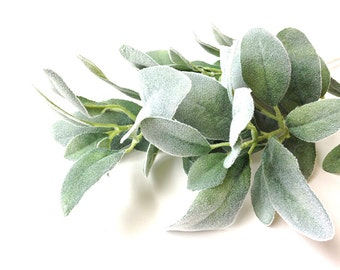 Silk flowers,  artificial plant, artificial flower, lamb's ear, faux lambs ear, floral stem, fake flower, gray plant, stachys, floral supply