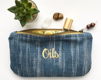 Denim Essential Oil Bag / Essential Oil Travel Pouch / Essential Oil Roller Bag