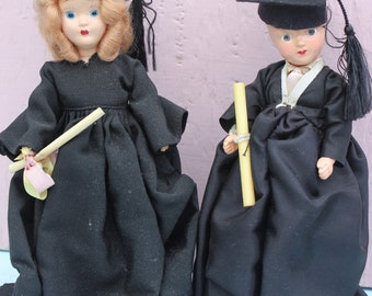 Vintage Boy and Girl Graduation Dolls, Composition