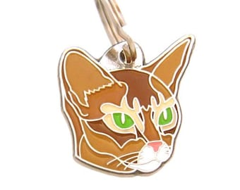 Personalised, stainless steel, Pet ID tag, MjavHov, Abyssinian cat