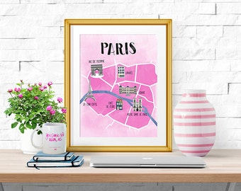 Paris -- Illustrated Map -- Home Decor -- Print