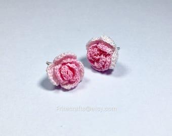 Earrings, rose earrings, rose studs, rose stud,crocheted earrings, crochet flower earrings, handmade earrings, sterling silver earring studs