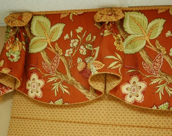 "Made to Order Valance BLOSSOM Hidden Rod Pocket® Valance fits 67""- 86"" window, Custom made using your fabrics, my LABOR and lining"