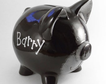 Black Bear Bank - Personalized Piggy Bank - Woodland Theme Bank - Teddy Bear Bank -  Wild Forest Animal Bank - with hole or NO hole
