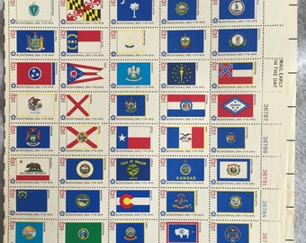 SALE USA State Flags Stamps Full Sheet Bicentennial 1776-1976 State Flags US Stamps Collection Bicentennial Era 13 Cent Stamps