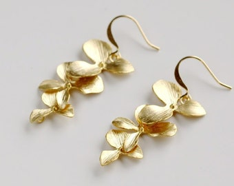 Gold Orchid Earrings, flower earrings, dainty orchid earring, Bridesmaid gift wedding jewelry, Cascade Trio orchid dangle, by balance9