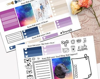 Fashion War in the Stars Theme Planner Weekly Sticker SMALL Kit, Passion Planner Sticker, Weekly Set, Sticker, Printed, Cut, Star Wars