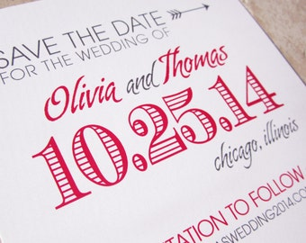 50 Save The Date Cards / Wedding Invitations Bold Type