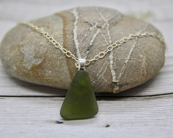 Green sea glass triangle pendant, sterling silver chain, sterling silver bail, sea glass and sterling silver necklace, gift for her