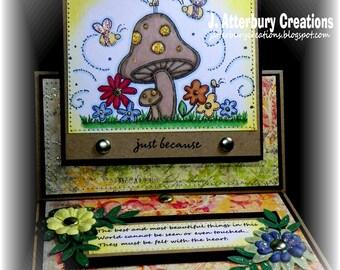 OOAK---Just Because Garden Easel Card + Matching Envelope Box