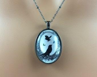 Black Bird Necklace - Black Bird Jewelry - Victorian Style Jewelry - Gift For Her - Bridal Jewelry - Victorian Black Birds Silhouette