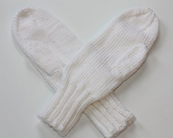 White Mittens for Adults - Traditional Mittens - Old Fashioned Mittens - White Adult Mittens - Knit Mittens - Knit White Mittens - Gloves