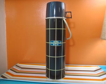 Vintage 1970s Retro Industrial Black Metal Geometric Work Lunch Camping Picnic Thermos  - 28oz