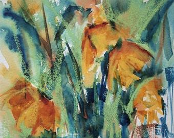 Daffodils, Original Art, Square Painting, OOAK, Original Watercolor Floral, Contemporary Work