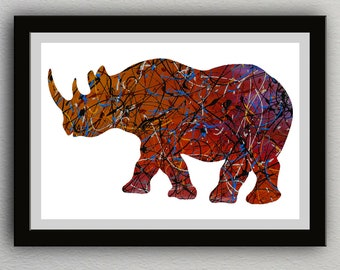 Rainbow Rhino Instant Digital Download Artwork Home Decor Printable Animal Rhinoceros Contemporary Abstract Modern Art Wall Decor Artwork