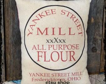 Handmade Primitive Baking Flour Feedsack Style Pillow or Panel #60