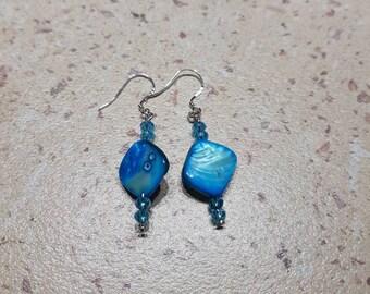 Blue beads, blue earrings, dangle blue earrings, sterling silver earrings