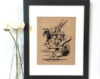 White Rabbit Alice in Wonderland Burlap Print // Rustic Home Decor
