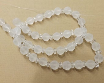 Faceted Frosted Glass, 8 mm Faceted Beads, Jewelry Making Supplies, 8mm Strand, Approx. 38 beads