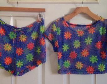 Womens vintage neon floral mesh 2-piece beach swim suit