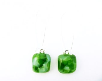 Recycled wine bottle earrings in green and frosted glass on sterling silver/Upcycled glass green and white kiln-fused dangle earrings