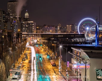 Seattle Photography | Pike Place Market | Cityscape | Pier 57 Seattle | Seattle Skyline | Night Photography | Seattle Great Wheel