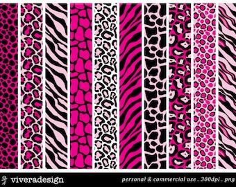 Pink and Black Animal Prints Digital Paper Pack - 10 digital papers