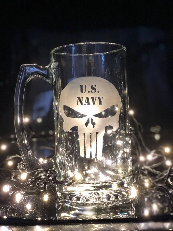 us navy punisher skull oversized glass beer mug stein