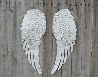 Angel Wings, Shabby Chic, White, Silver, Large, Metal, Upcycled, Hand Painted, Shabby Chic Decor, Boho Chic, Wall Decor, Nursery Decor, Gift