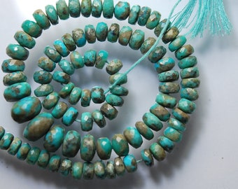 15 Inches Long, Natural Arizona Sleeping Beauty Turquoise Faceted Rondelles, 11-5.5mm