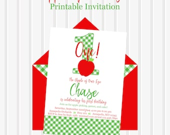 Apple Birthday Invitation Of Our Eye Orchard Party Picking Fall First Theme