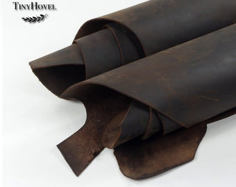 CrazyHorse Leather Scraps, 2mm thickness Leather Offcuts, CrazyHorse of Leather Off Cuts, Genuine Cowhide Leather, Leather Crafts L017