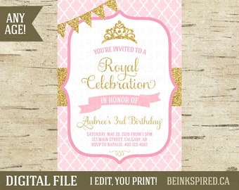 Printable Princess Invitation Invite, Pink and Gold Glitter, 1st 2nd 3rd Birthday Invitation Invite, Princess Party Birthday, DIGITAL FILE