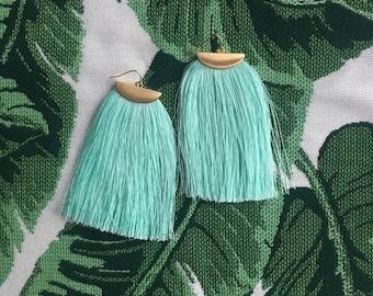 Turquoise and Gold Long Tassel Earrings, Turquoise Fringe Earrings, Boho Chic Jewelry Earrings, Lightweight Women's Earrings