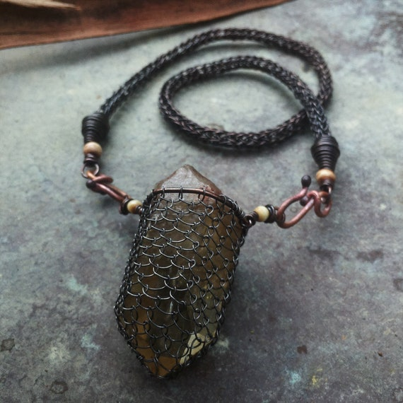 Large wrapped smokey quartz necklace with handmade viking knit copper chain