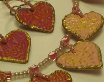 """BE MY VALENTINE Hand-Painted & Embossed Multiple Heart-Shaped Acrylic Necklace and Earring Set  Approx. 22"""""""